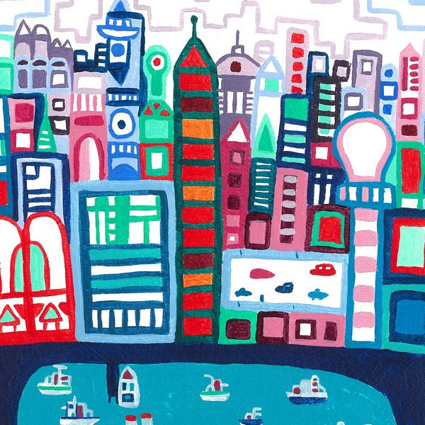 River City is the first acrylic painting in a series of illustrative artworks inspired by my home city of London. The painting portrays a busy city scene of buildings and a large river with boats. And features a vibrant palette of colour drawn with the brush in an attempt to recreate the spontaneity of my sketchbook pen drawings. Art buyers (and art lovers) will see stylistic references to prominent 20th century painters like L.S. Lowry and Paul Klee.