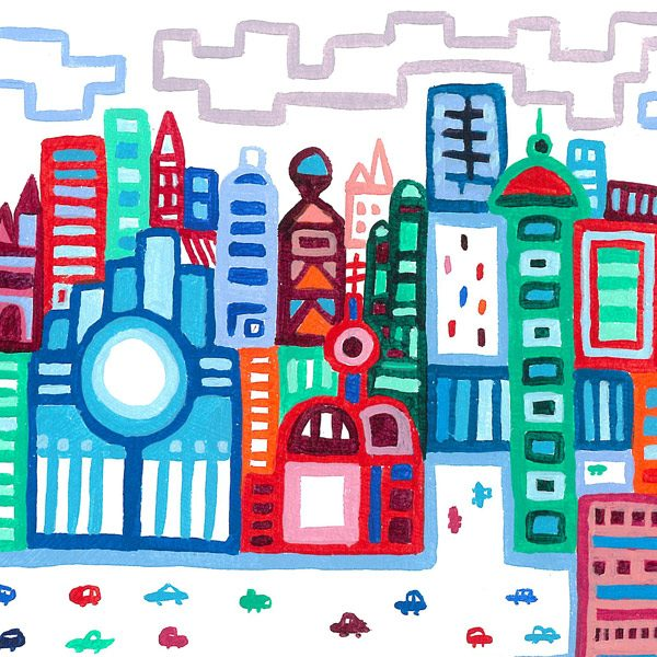River City 2 is the second acrylic painting in a series of illustrative artworks inspired by my home city of London. The painting portrays a busy city scene of buildings and a large river with boats. And features a vibrant palette of colour drawn with the brush in an attempt to recreate the spontaneity of my sketchbook pen drawings. Art buyers (and art lovers) will see stylistic references to prominent 20th century painters like L.S. Lowry and Paul Klee.